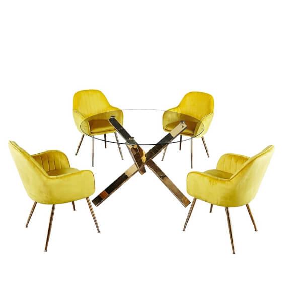Capri 4 Seater Dining Set - Lara Dining Chairs - Yellow