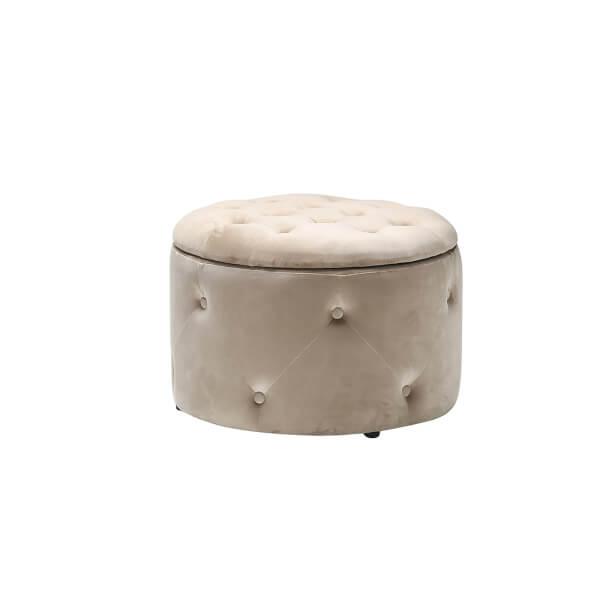 Cleo Round Storage Pouffe - Beige