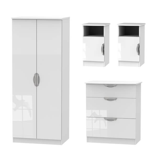 Portofino 4 Piece Bedroom Furniture Set - White