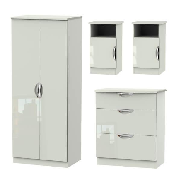 Portofino 4 Piece Bedroom Furniture Set - Kaschmir