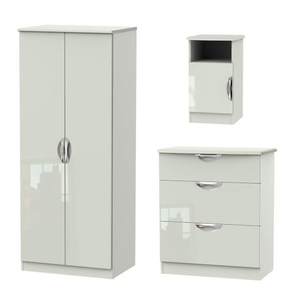 Portofino 3 Piece Bedroom Furniture Set - Kaschmir
