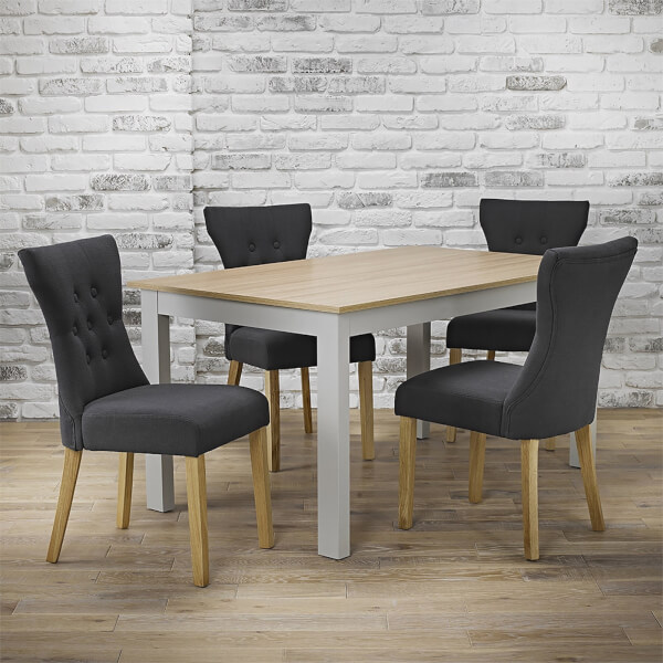 Cotswold 4 Seater Dining Set - Naples Dining Chairs - Grey
