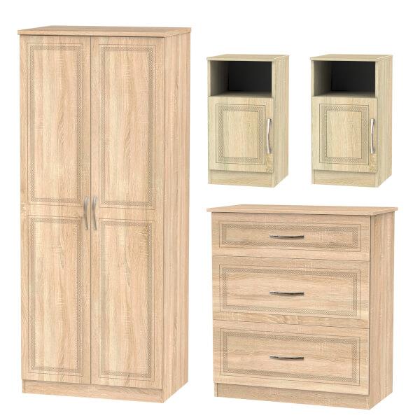 Milton 4 Piece Bedroom Furniture Set - Oak