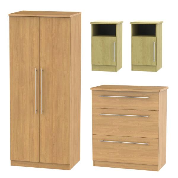 Siena 4 Piece Bedroom Furniture Set - Modern Oak