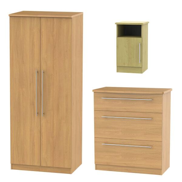 Siena 3 Piece Bedroom Furniture Set - Modern Oak
