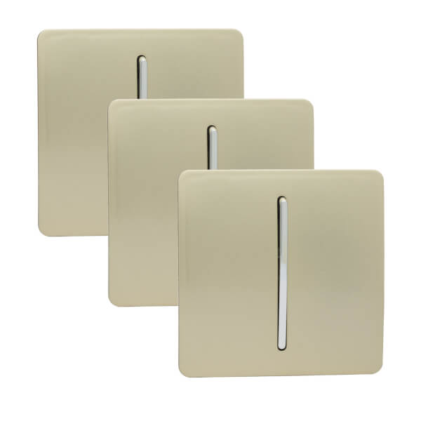Trendi Switch 1 Gang 2 Way 10 Amp Rocker Light Switch in Screwless Gold (3 Pack)