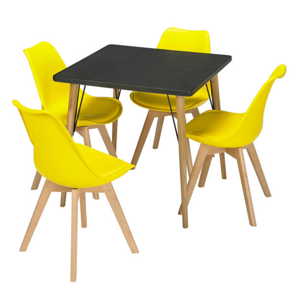 Mercer 4 Seater Dining Set - Louvre Dining Chairs - Yellow
