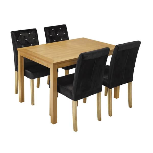 Oakridge 4 Seater Dining Set - Paris Dining Chairs - Black