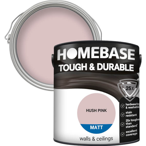 Homebase Tough & Durable Matt Paint - Hush Pink 2.5L