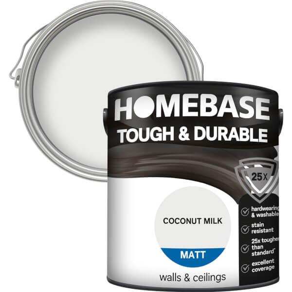 Homebase Tough & Durable Matt Paint - Coconut Milk 2.5L