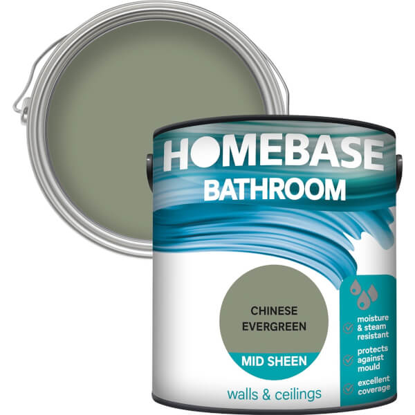 Homebase Bathroom Mid Sheen Paint - Chinese Evergreen 2.5L