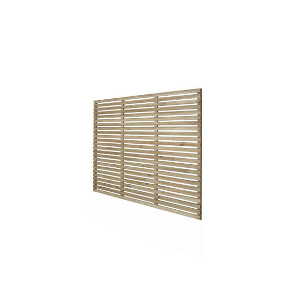 6ft x 5ft (1.8m x 1.5m) Pressure Treated Contemporary Slatted Fence Panel - Pack of 4