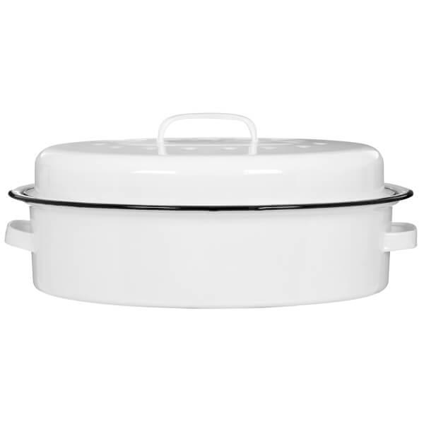 Oval Self Basting Roaster - White Enamel