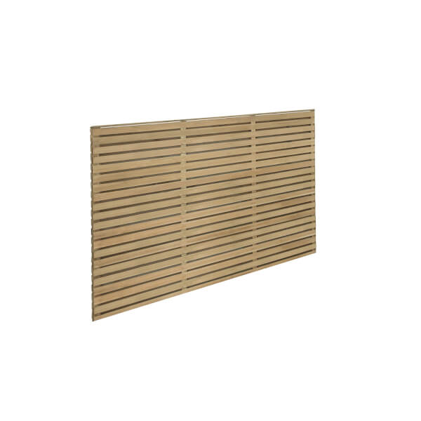 6ft x 4ft (1.8m x 1.2m) Pressure Treated Contemporary Double Slatted Fence Panel - Pack of 5