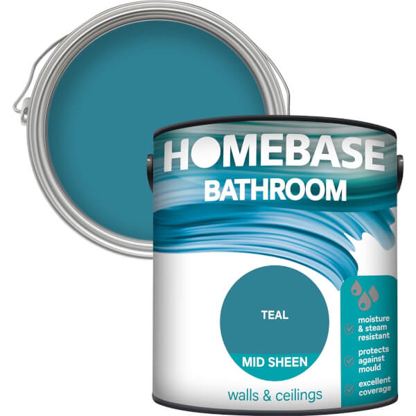 Homebase Bathroom Mid Sheen Paint - Teal 2.5L