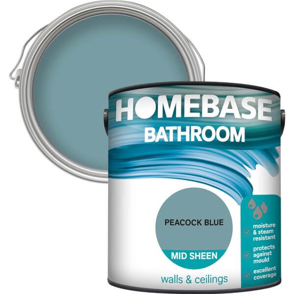Homebase Bathroom Mid Sheen Paint - Peacock Blue 2.5L