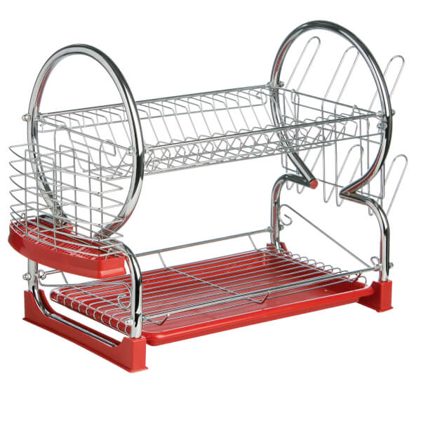 2 Tier Dish Drainer with Red Plastic Tray