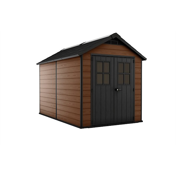 Keter Newton Outdoor Garden Storage Shed 7.5x11 Brown