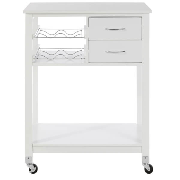 White Veneer Finish Kitchen Trolley with Drawer