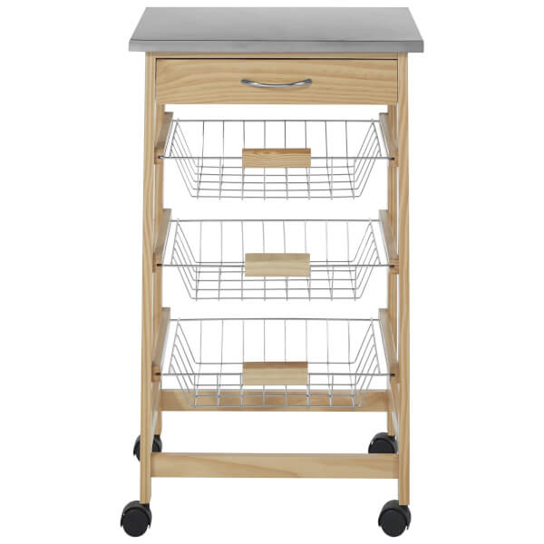Pinewood Kitchen Trolley with 3 Wire Baskets
