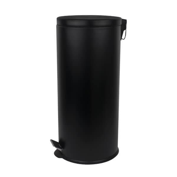 Round Soft Close Pedal Bin - 30L - Matt Black