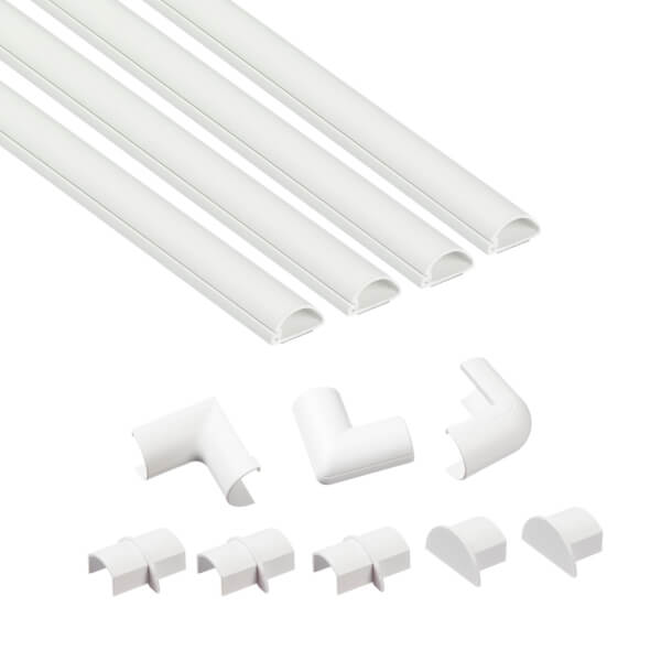 D-Line Micro+ Decorative Self Adhesive Trunking Multipack 4 x 20mm x 10mm x 1-meter Lengths & Accessories - White