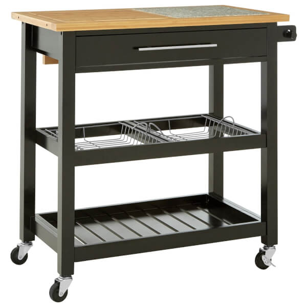 Wide Kitchen Trolley with Granite Top