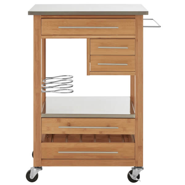 Bamboo Kitchen Trolley with 4 Drawers