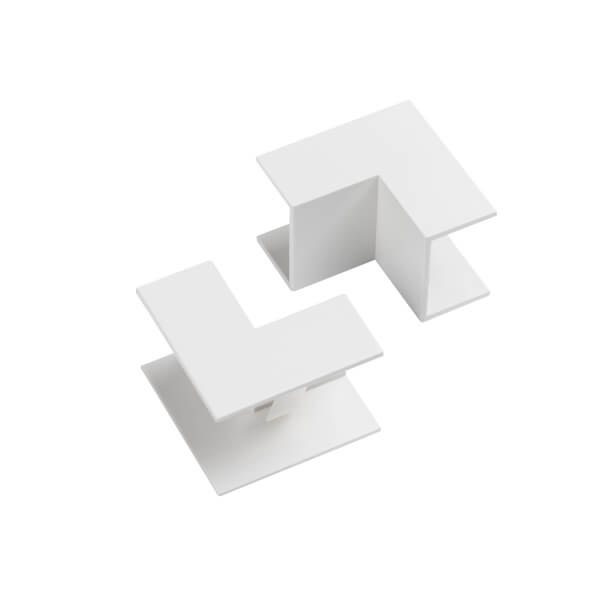 D-Line 25x16mm Trunking Clip-On Internal Bend 2 Pack - White