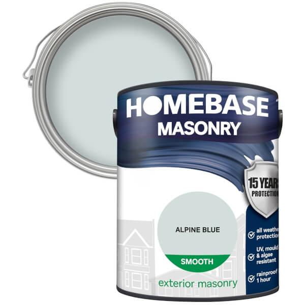 Homebase Smooth Masonry Paint - Alpine Blue 5L