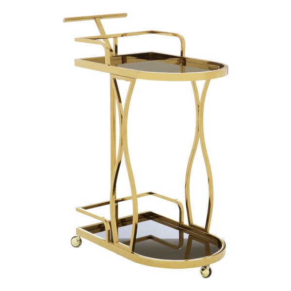 Nova 2 Tier Gold Wavy Design Trolley