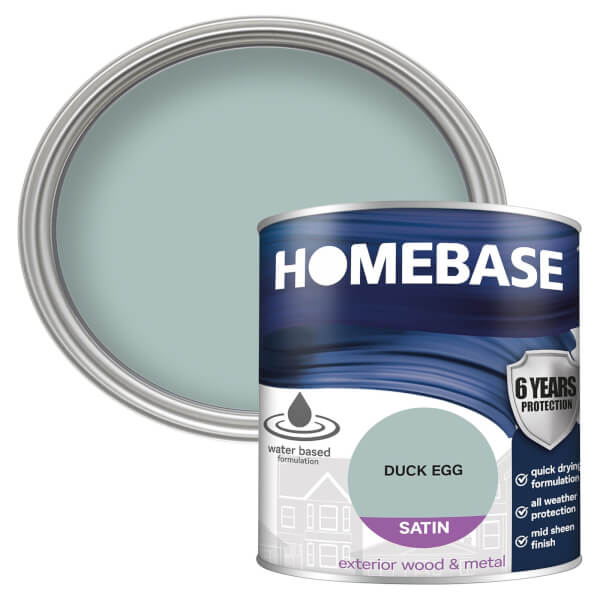 Homebase Exterior Satin Paint - Duck Egg 750ml