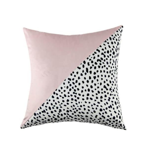 Dalmatian & Blush Velvet Cushion