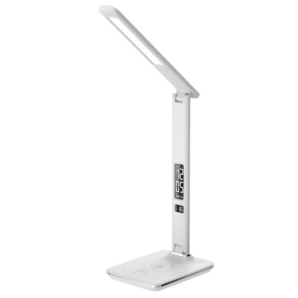 Groov-E Ares LED Desk Lamp Alarm Clock - with Wireless Charging Pad - White