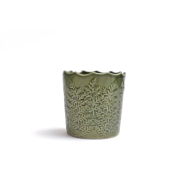Candle Holder with Leaf Imprint - Green