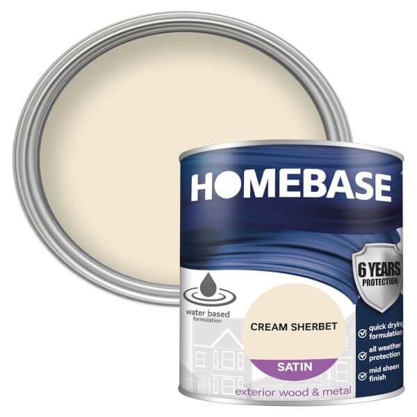 Homebase Exterior Satin Paint - Cream Sherbet 750ml