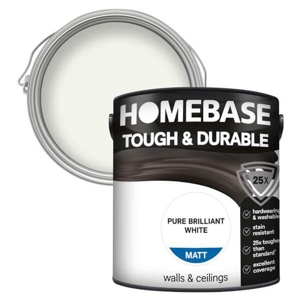 Homebase Tough & Durable Matt Paint - Pure Brilliant White 2.5L