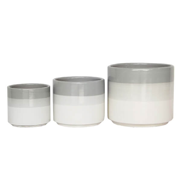 Glazed Three Tone Grey Cylinder Planter - 19cm