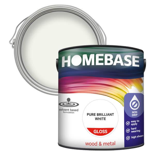Homebase Interior Non Drip Gloss Paint - Brilliant White 2.5L