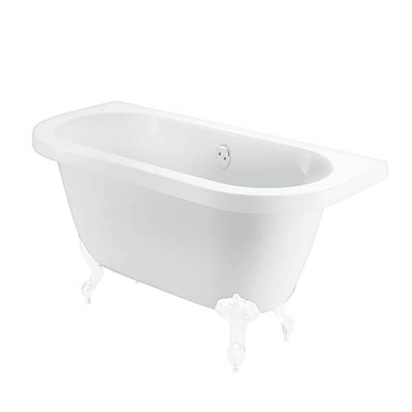 Bathstore Belmont Back to Wall Roll Top Bath with White Feet