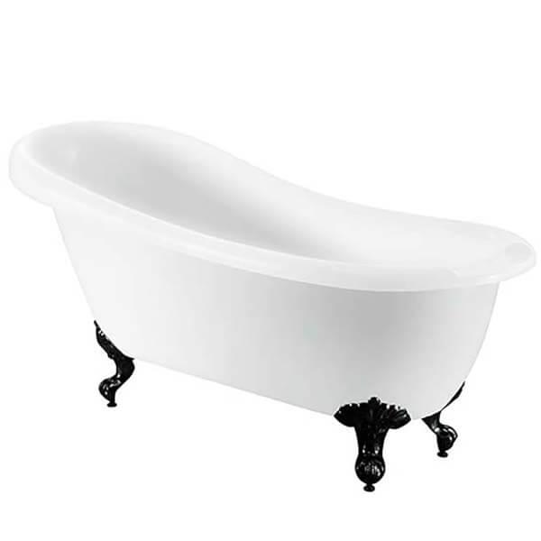 Bathstore Kingham Slipper Roll Top Bath with Black Feet