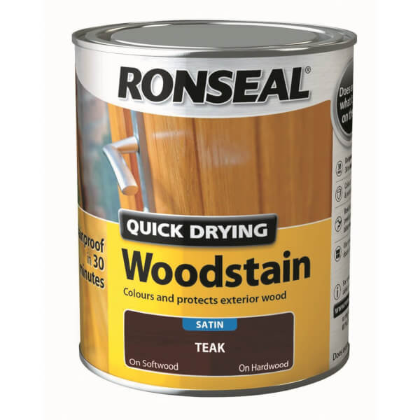 Ronseal Quick Drying Woodstain - Teak Satin 750ml