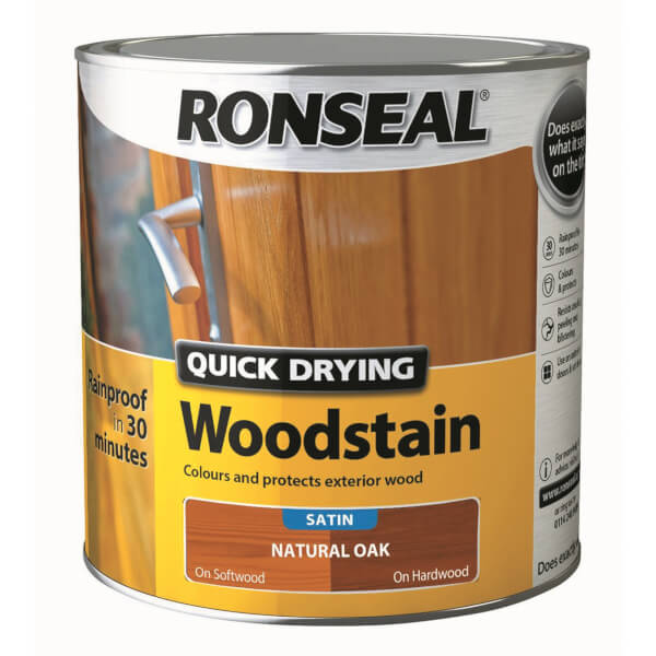 Ronseal Quick Drying Woodstain - Natural Oak Satin 2.5L