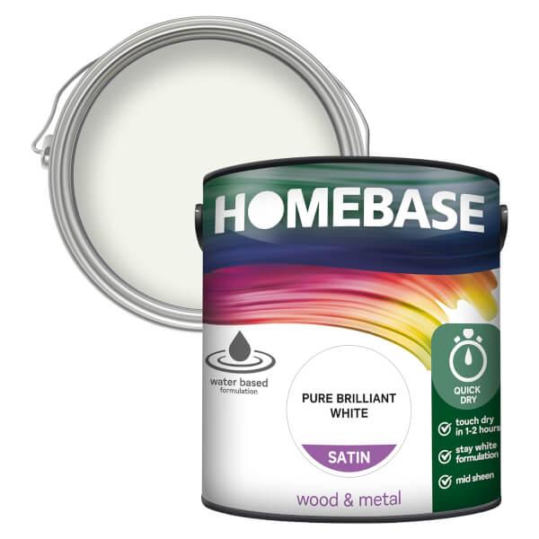 Homebase Interior Quick Dry Satin Paint - Brilliant White 2.5L
