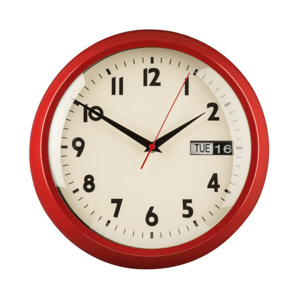 Day & Date Wall Clock - Red