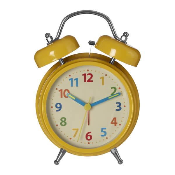 Twin Bell Alarm Clock - Yellow