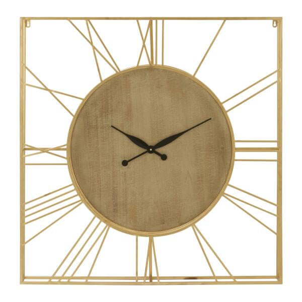 Yaxi Clock - Faux Gold Foil & Natural Wood