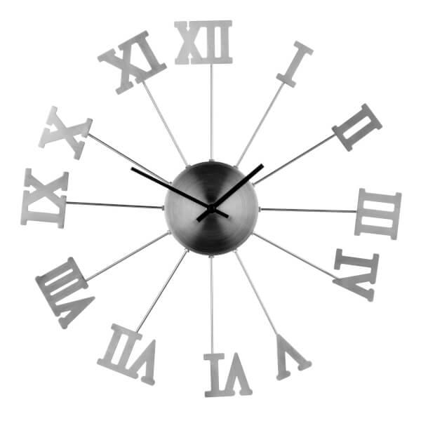 Wall Clock - Silver Roman Numerals