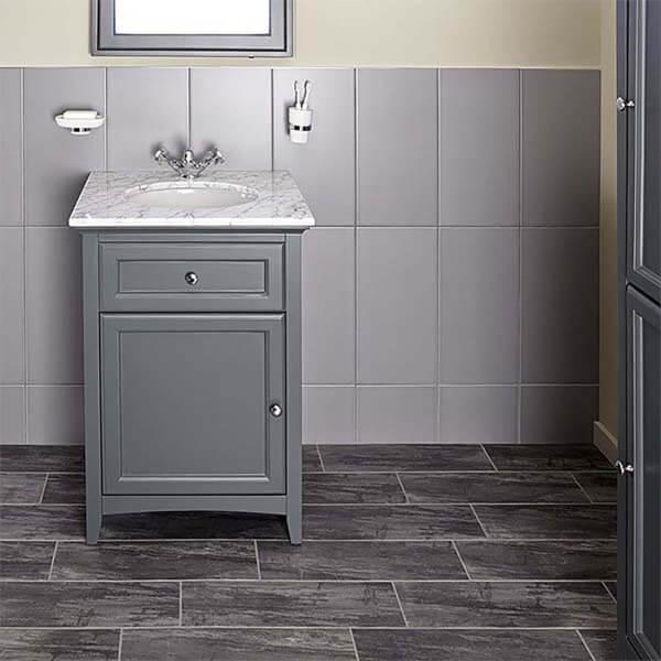 Bathstore Savoy 600mm Marble Top Floor standing Vanity Unit - Charcoal Grey