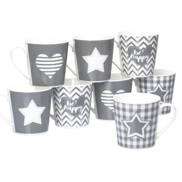 Grey Star & Heart Mugs - Set of 8